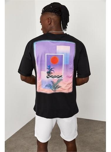 XHAN Sunshine Baskılı Oversize T-Shirt 1YXE1-45091-02 Siyah